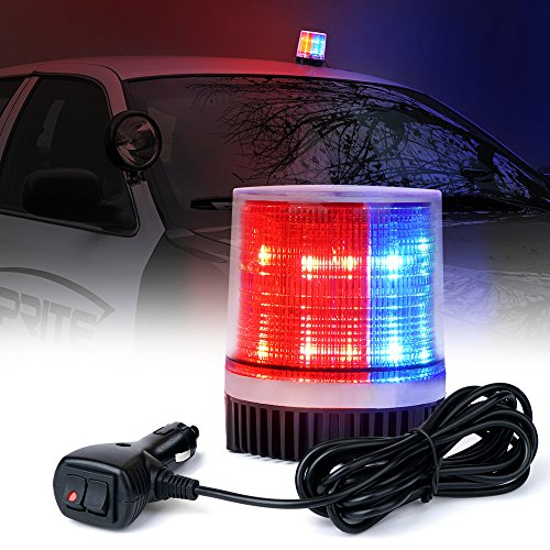 Xprite Red Blue Rotating Revolving LED Beacon Strobe Light, with Magnetic Mount, 12LEDs Emergency Warning Caution Flashing Light for Snow Plow Truck UTV 12v (Rotating Police Beacon)