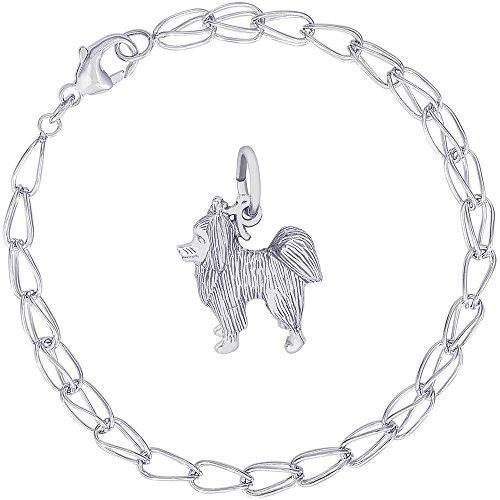 (Rembrandt Charms Sterling Silver Papillon Dog Charm on a Double Twist Bracelet, 7