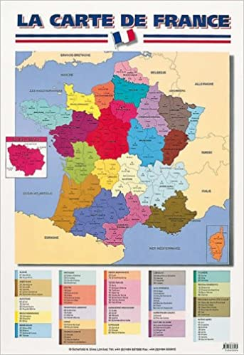 English Map Of France.Map Of France English And French Edition Schofield Sims
