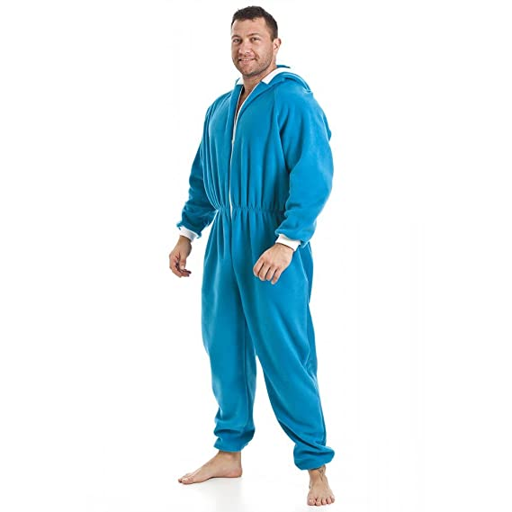 3c9ee0ed53 Camille Mens Blue Soft Fleece Hooded Pocketed Onesie  Camille ...