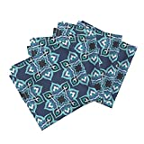 Roostery Tiles Linen Cotton Dinner Napkins Kayseri In Blue Steel by Delsie Set of 4 Cotton Dinner Napkins made by