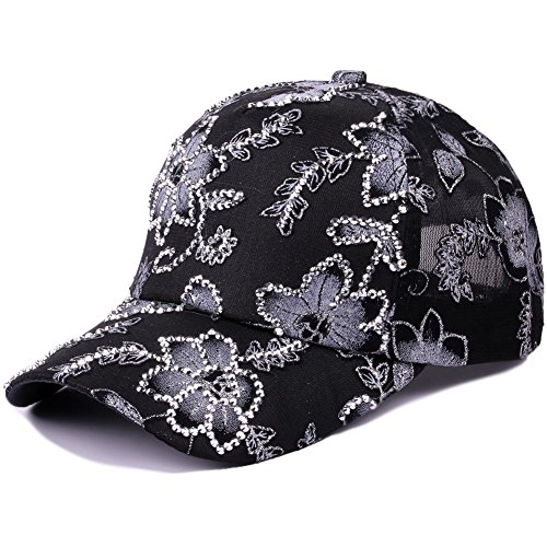 (Deer Mum Women Studded Crystals Rhinestones Sequins Baseball Cap (0604 Black))