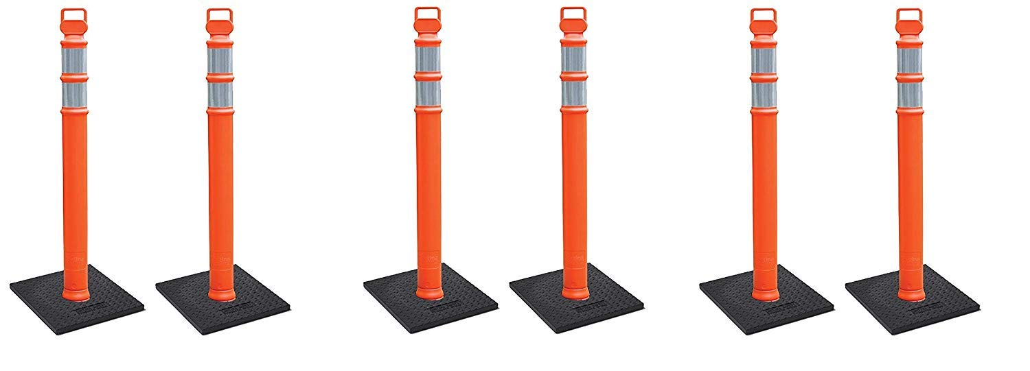 Cortina EZ Grab Delineator 45'' Post, 3'' Hip Collars with 10 lb Base, 03-747RBC-2, Orange, (3 X Pack of 2)