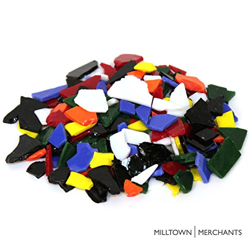 Milltown Merchants™ Multicolored Stained Glass Pieces 3 lb – Opaque Blend Stained Glass Cobbles – Broken Glass Chips for Stepping Stones and Crafts – Glass Coblets Bulk Assortment