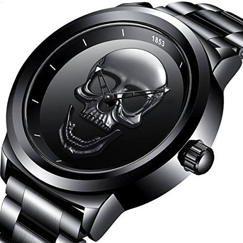 Big Date Mens Wrist Watch - Mens Black Big Face Watches Men's Chronograph Waterproof Sport Date Quartz Wrist watch