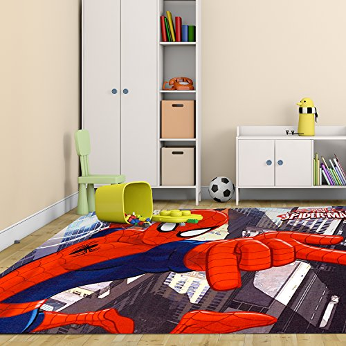 Marvel Spiderman Rug HD Digital Kids Bedding Wall Decals Room Decor Area Rugs 5x7, X Large, Multicolor (Spiderman Rugs And Carpet)