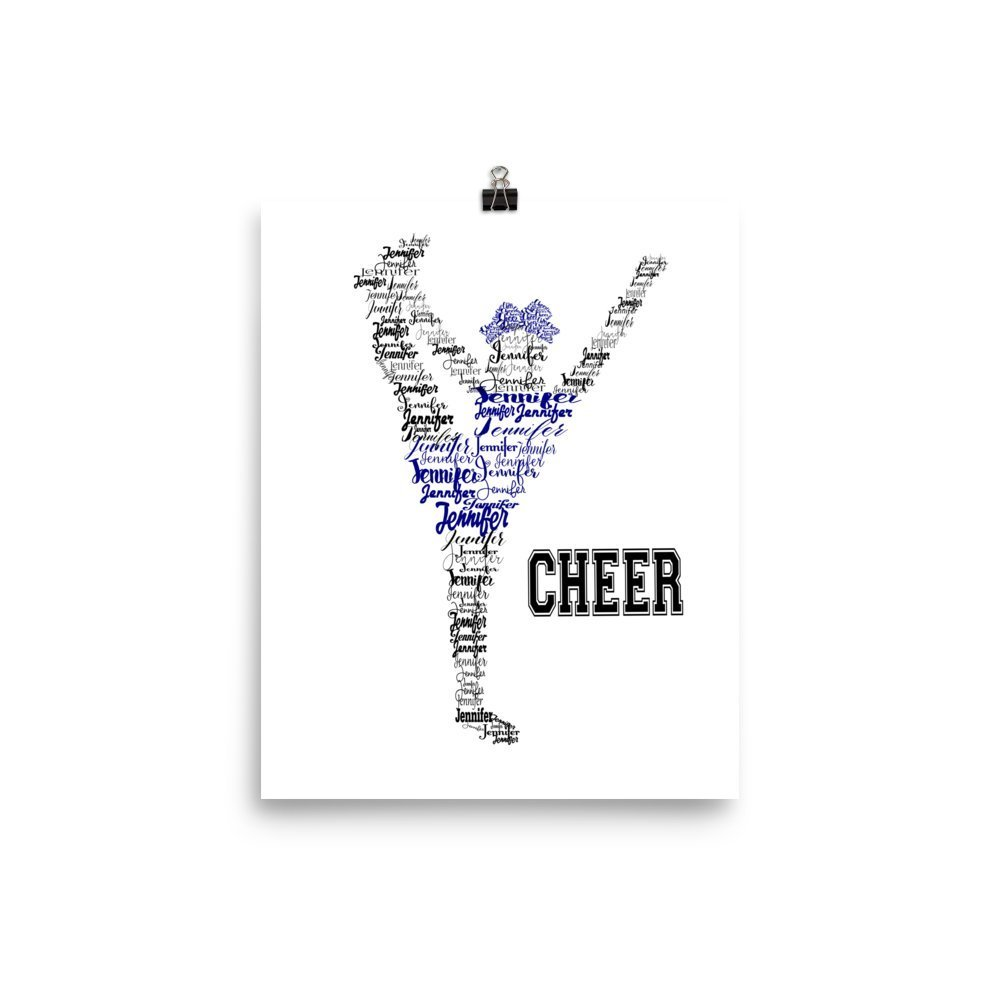 Amazon.com: Cheerleader Personalized Name Print, Heel Stretch, 8x10 or 11x14: Handmade
