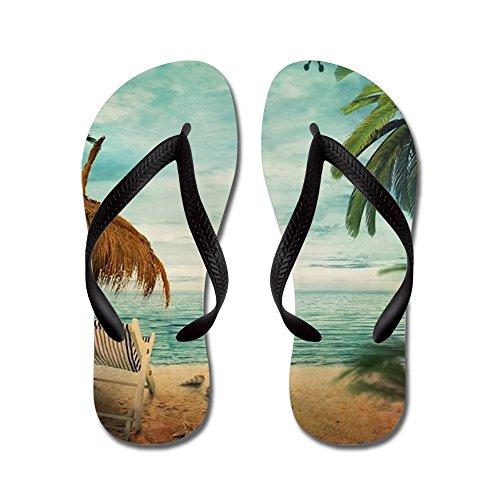Cafepress Vintage Beach - Flip Flops, Grappige String Sandalen, Strand Sandalen Zwart