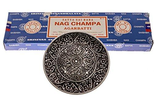 Alternative Imagination 100 Gram Nag Champa with Incense Holder (Tibetan Incense Burner)