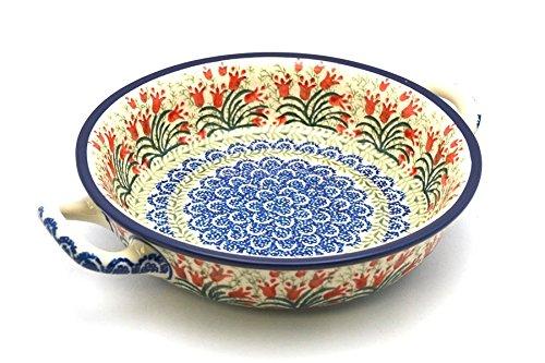 Polish Pottery Baker - Round with Handles - Medium - Crimson Bells