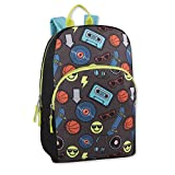 Trail maker Character Backpack (15'') with Fun Fashionable Design for Boys & Girls (Emoji Boy)