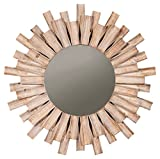 Ashley Furniture Signature Design - Donata Accent Mirror - Natural Finished Wood in Sunburst Design