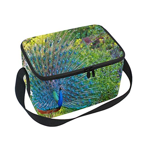 Reusable Lunch Tote Bag for Women and Girls Kids Peacock Wallpaper Medium Capacity with Adjustable Shoulder Strap for ()