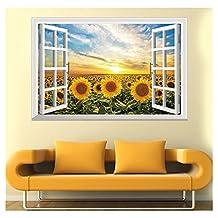 Distinct® Sun Flower 3D PVC Wall Sticker Fake Window Home Decals Modern Decor Landscape Wall Paper