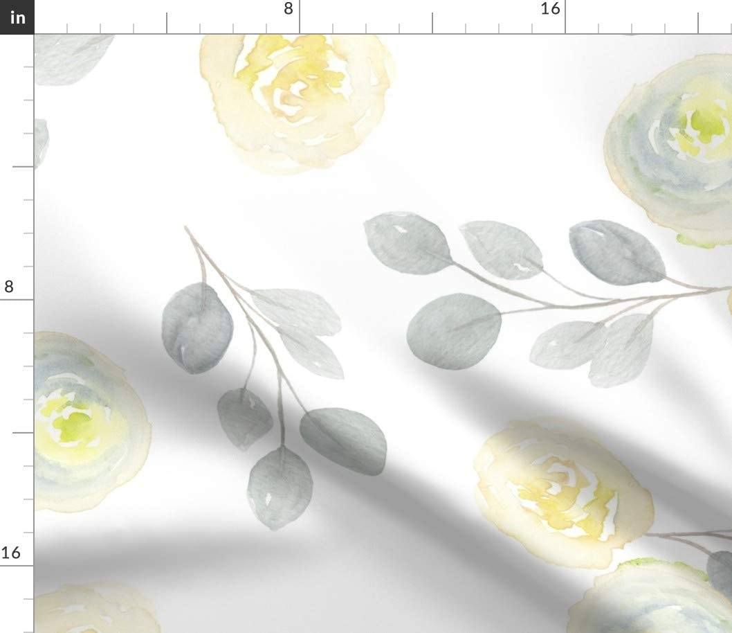 Spoonflower Fabric - Large Print Yellow Gray Watercolor Florals Silver Eucalyptus Floral Printed on Upholstery Velvet Fabric by The Yard - Upholstery Home Decor Bottomweight Apparel
