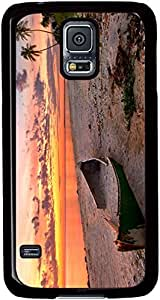 The-Sunset-Beach-Scenery-The-Sea-The-Broken-Boat-The-Red-Clouds Cases for Samsung Galaxy S5 I9600 with Black sides