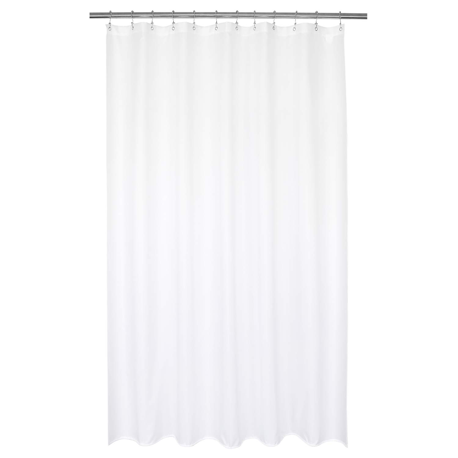 Barossa Design Waterproof Extra Long Shower Curtain or Liner 72 x 84 inches, Hotel Quality, Machine Washable, White, 72x84