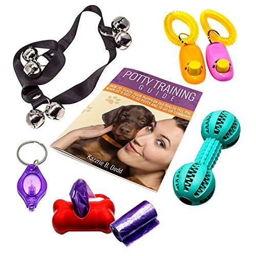 Guidebook and Dog or Puppy Potty Training Tools: Potty Bells, Clickers, Interactive Toy Dumbbell, Waste Bag Dispenser, Refill Poop Bags + Keychain LED Flashlight