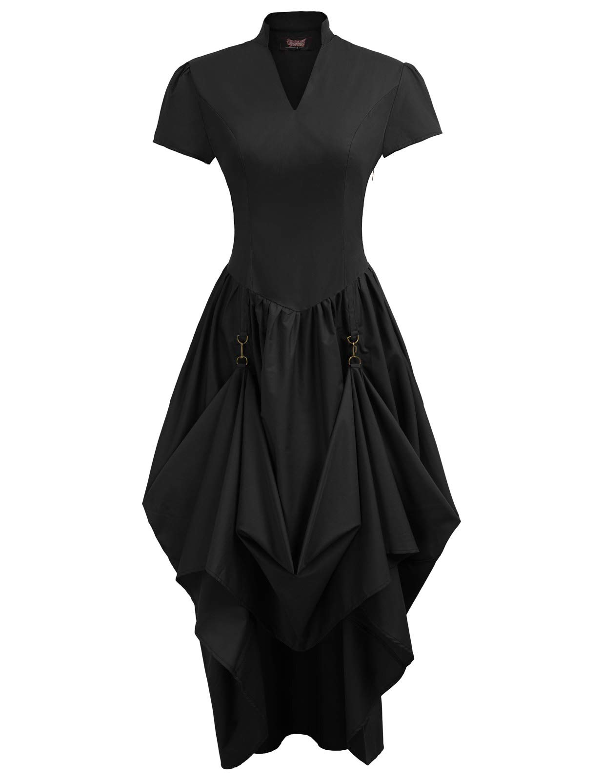 Women Victorian Vintage Steampunk Short Sleeve V-Neck Long Dress 4