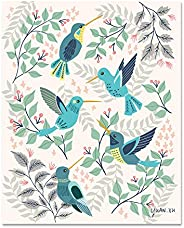 Unframed Hummingbirds and Floral Art Print 8x10