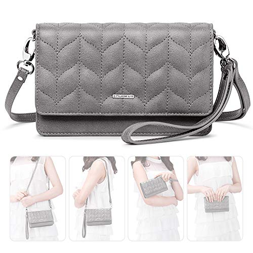 nuoku Women Small Crossbody Bag Cellphone Purse Wallet with RFID Card Slots 2 Strap Wristlet(Max 6.5'') ... (Gray1)
