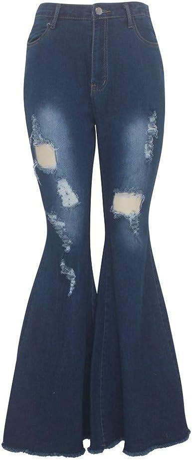 Felz Pantalones Vaqueros Campana Mujer Mujeres Moda Agujero Pantalones Anchos Jeans Pantalones Acampanados Cremallera Vaqueros Amazon Es Ropa Y Accesorios