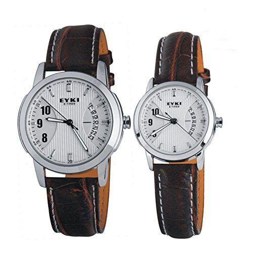 Couple Watches Quartz Waterproof Wristwatches For Men Ladies White Dial and Brown Leather Band
