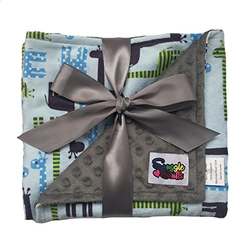 Boys Reversible Minky Dot Stroller Blanket Polka Dots & Stripes Green Giraffes ()