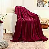 FY FIBER HOUSE Flannel Fleece Luxury Blanket,Lightweight Cozy Microfiber Solid Blanket,60 by 80-Inch,Red