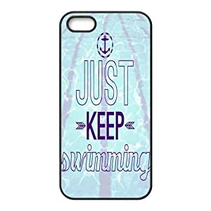 iPhone 5/5s Just Keep Swimming Happy Cartoon Pattern Solid Rubber Customized Cover Case for iPhone 5 5s 5s-linda935