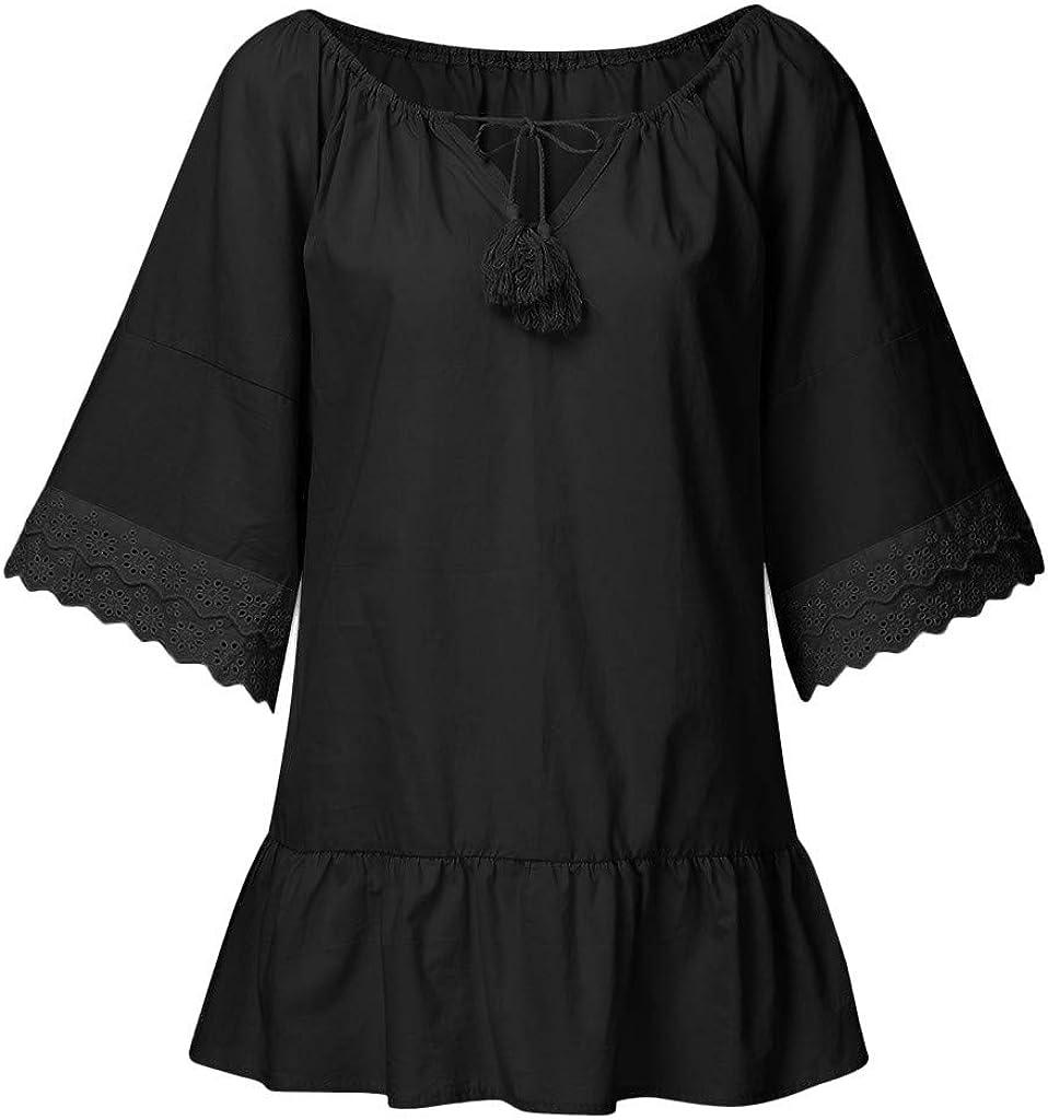 Camiseta de manga larga con encaje de Mingger, de manga larga, con cuello de pico, para mujer, de manga larga, de verano