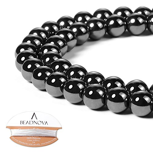 - BEADNOVA Natural Hematite Beads Natural Crystal Beads Stone Gemstone Round Loose Energy Healing Beads with Free Crystal Stretch Cord for Jewelry Making (8mm, 45-48pcs)
