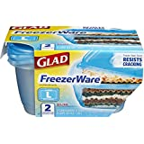 Glad Food Storage Containers, FreezerWare, Large, 64 Ounce, 2 Count