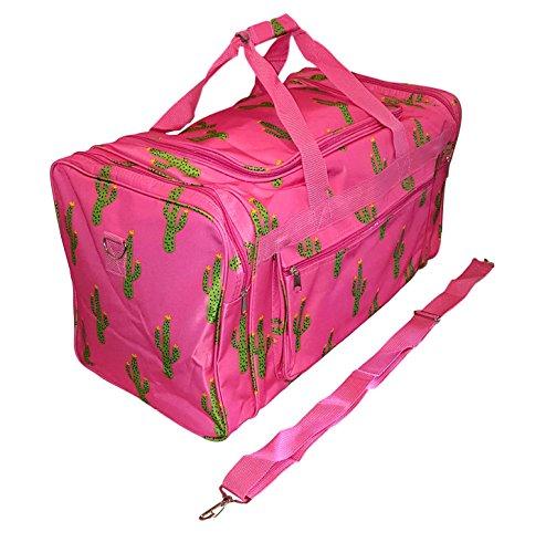 21 inch Fashion Print Gym Dance Cheer Travel Duffle Bag (Pink Cactus)