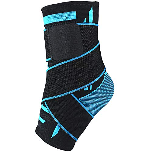 Ankle Brace Support, Ankle Compression Foot Socks Sleeve with Arch Support for Plantar Fasciitis/Achilles Tendonitis/Arch Heel Spurs -for Sports, Running, Basketball, Football and Daily Wear-Aquamarin