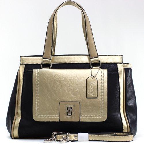 Dasein Women's Two-tone Metallic Contrast Fashion Satchel w/ Front Pocket -Black/Tan, Bags Central
