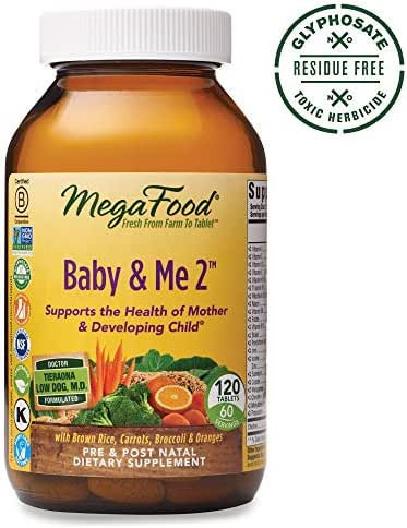 MegaFood, Baby & Me 2, Prenatal and Postnatal Vitamin, Dietary Supplement with Iron, Folate and Choline, Gluten-Free, Vegetarian, 120 Tablets (60 Servings)