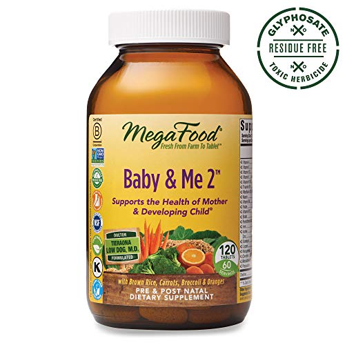 MegaFood, Baby & Me 2, Prenatal and Postnatal Vitamin, Dietary Supplement with Iron, Folate and Choline, Gluten-Free, Vegetarian, 120 Tablets (60 Servings) (Best Time Of Day To Take Prenatal Vitamins)