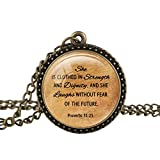 FM42 Vintage Style Courage Theme Christian The Bible Religious Inspirational Quote Pendant Necklace TN2616
