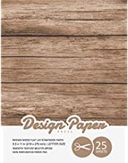 Brown Wood Flat Lay Scrapbook Paper: Decorative Scrapbooking Paper for Crafting, Card Making, Decorations, Collage, Printmaking, 8.5x11, 25 Pack, Wood Backdrop, Designer Specialty Paper Pad