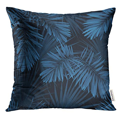 (Golee Throw Pillow Cover Black Tree Blue Indigo Summer Tropical Camouflage with Palm Leaves Pattern Navy California Abstract Decorative Pillow Case Home Decor Square 18x18 Inches Pillowcase)