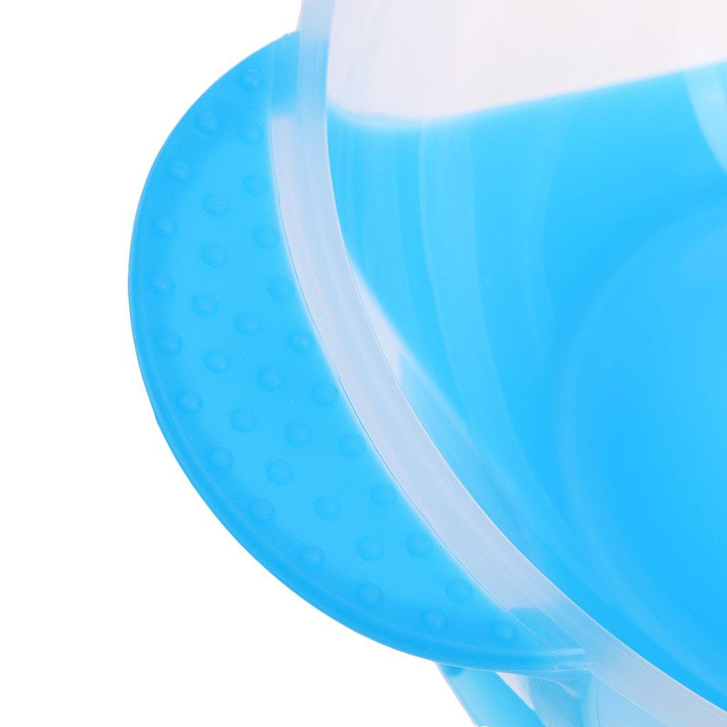 MagiDeal Nette Kinder Baby Sch/üssel Teller mit Saugnapf und Sensing L/öffel Set Babyteller Saugnapf Teller Blau