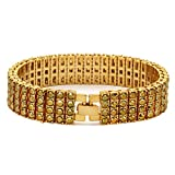 L & L Nation 4 ROW Lab Diamond Hip Hop Iced Out Bracelet GOLD SILVER BK HEMATITE 8.5'' Inches (GOLD/GOLD)