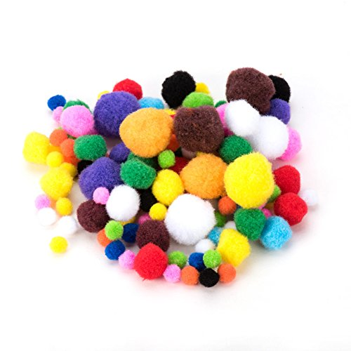 PandaHall Elite 10mm to 30mm Mixed Sizes Multicolor Assorted Pom Poms Balls About 550pcs for DIY Doll Craft Party (Halloween Diy Decorations And Crafts)