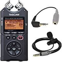 Tascam DR-40 Portable Digital Recorder with Rode Smartlav+ Mic and Adapter