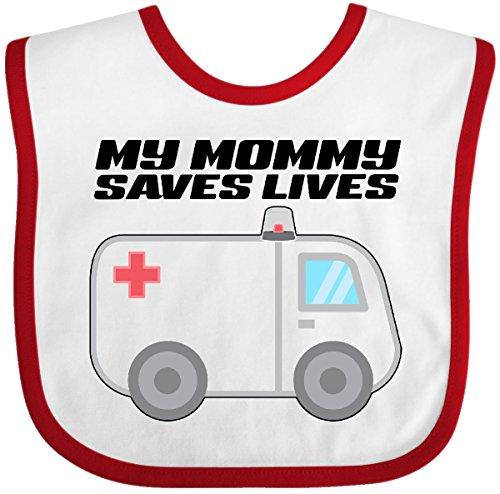 Inktastic - My Mommy Saves Lives- Ambulance Baby Bib White/Red 301fb