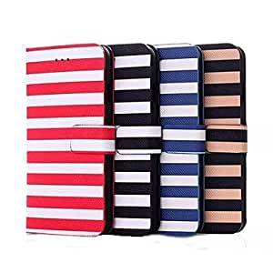 SOL Navy Wind Stripe Skin Flip PU Leather Cover for iPhone 6(Assorted Colors) , Khaki