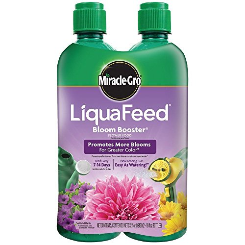 - Miracle-Gro 100404 LiquaFeed Bloom Booster Flower Food, 4-Pack (Liquid Plant Fertilizer Specially Formulated for Flowers)