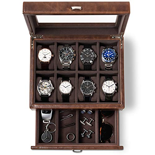 TAWBURY Leather Watch Box for Men - 8 Slot Watch Case with Valet | Mens Watches Storage | Large Watch Holders and Jewelry Organizer | Men's Watch Display Stand | Watch Boxes | Watch Cases for Men