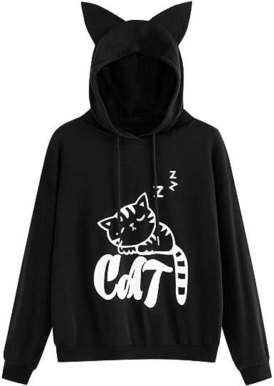 Sudadera con Capucha de Manga Larga con Estampado de Gatos para ...